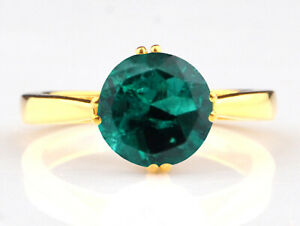 14KT Yellow Gold & 1.20Ct Round Cut Natural Zambian Green Emerald Solitaire Ring