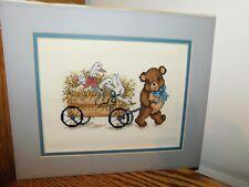 Bear Cross Stitch Panel COMPLETED Pulling Wagon Handmade