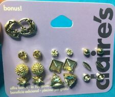 10 Pairs (Nine Plus One Bonus) Claire's Rhinestone Stud Star Moon Earrings New