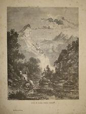 incisione stampa antica cava carrara toscana marmo italia gravure engraving 1890