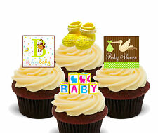 Baby Shower Edible Cupcake Toppers, Standup Fairy Cake Bun Decorations Neutral