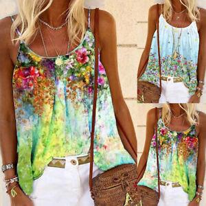 Womens Sleeveless Loose Tank Tops Blouse Ladies Swing Summer Vest T Shirts UK