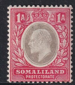 SOMALILAND-1906 1a Grey-Black & Red Sg 46a MOUNTED MINT