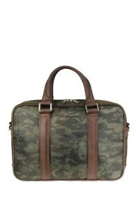 Robert Graham NWT Banner Slim Olive Print Fabric Laptop Briefcase Retail $228