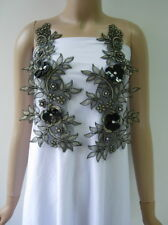 VF265 Floral Paired Beaded Gemstone Pailletted Trims Applique Beige-gold