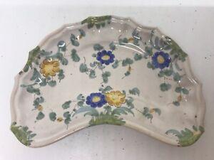 Vintage Cantagalli Majolica Antique Italian Kidney plate Rooster Cockerel Mark