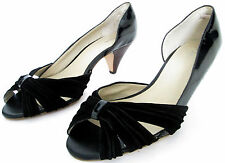 MONSOON SIZE 5 38 WOMENS PATENT BLACK  PEEPTOE SLIP ON COURT SHOES PUMPS