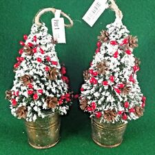 "2 Pier 1 Imports Mini 6"" Christmas Tree Ornaments w/pinecone & berries in bucket"