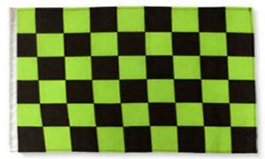 """12x18 12""""x18"""" Black & Green Checkered Checker Race Sleeve Flag Boat Car Garden"""