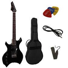 E-Gitarre-X-Metal-linkshänder/lefthand,mit Pik-Tasche-Band-Kabel-Top!