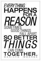Everything Happens For A Reason White Marilyn Monroe Quote Poster 24x36 inch