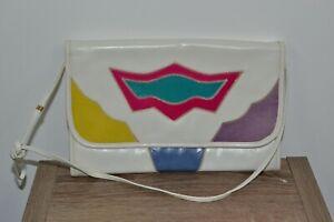 Bags by Varon Exotic Vintage White RARE Leather Clutch Shoulder Bag purse