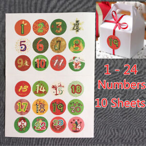 120PCS Christmas Advent Calendar Stickers Numbers Gift Bag Labels Seals Craft