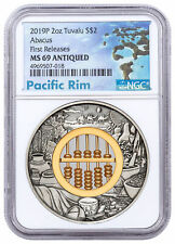 2019 P Tuvalu Abacus 2 oz Silver $2 Coin NGC MS69 FR Pacific Rim Label SKU58518