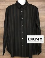 NWT DKNY Men's Multi-Color Striped Long Sleeve Button Front Designer Shirt XL