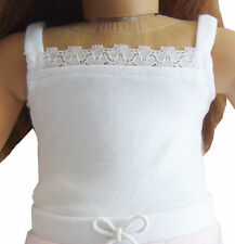 """White Lace Cami T-Shirt Camisole fits 18"""" American Girl Doll Clothes"""