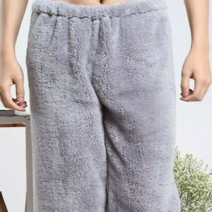 Unisex Fluffy Plush Pants Sleepwear Faux Fur Pajamas Trousers Lounge Winter Warm