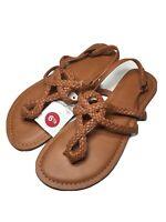 Women's Jana Braided Thong Ankle Strap Sandal - Universal Thread; Cognac 6.5