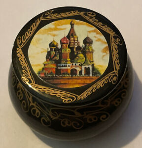 Vintage Russian Small Round Lacquer Box