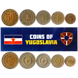 5 YUGOSLAV COINS. EXTINCT COUNTRY IN EUROPE. JUGOSLAVIA COINS FOREIGN CURRENCY