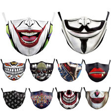 Adult Unisex Reusable Washable Facemask Halloween Print Half Face Mouth Mark