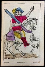 1868 Cavalier of Swords Artisan Colour Spanish Naipes Playing Cards Cadiz Single