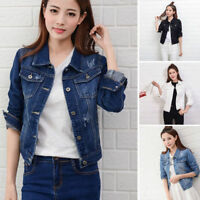 Fashion Women Slim Denim Casual Jean Trench Coat Short Jacket Outerwear Cowboy