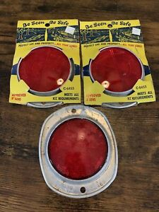 """3 - Vintage  Gleason TriHedral 3"""" Red Safety Bike Boat Trailer Reflector C6453"""