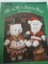 1993 Mr & Mrs Santa Bear Crochet Pattern Book Dress Santa Suit Hat Hatfield NEW