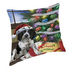 Christmas Bluetick Coonhound Dog with Presents Throw Pillow 14x14