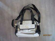 Kipling  Crossbody Handbag Satchel Shoulder Bag Beige & Black Patent Excellent