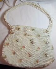 VINTAGE 1960-70's WHITE BEADED CLOTH PURSE HANDBAG EMBROIDERED PINK FLOWERS