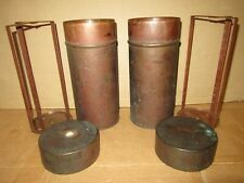 2 Vintage Medical Hoslab Copper Laborator Steralization Canisters For Petri Dish