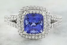 2.45 Carat  Genuine Tanzanite 14K Solid White Gold Diamond Ring