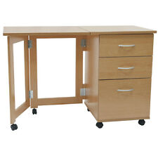 Flipp - 3 Drawer Folding Office Storage Filing Desk / Workstation - Beech Of1085