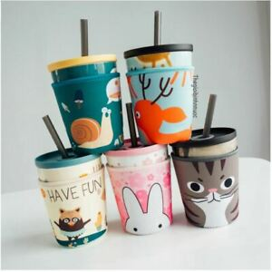 Cute Ceramic Cup Cat Rabbit Bear Fox Dog With Shock-Resistant Bag Included C47