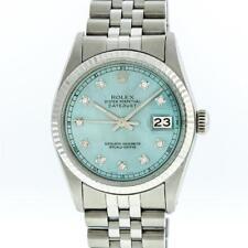 Rolex Stainless Steel Ice Blue Diamond DateJust Men's Watch Lot 498