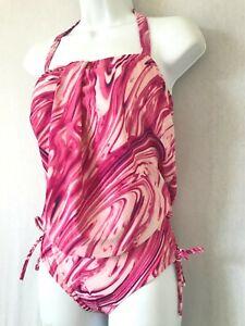 Ladies Pink Mix BONMARCHE Blouson Swimsuit Size 10- Control Tie Dye Bust Support