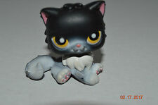 Littlest Pet Shop~#435~Persian~Kitty Cat~Black White~Yellow Dot Eyes