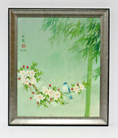 Bird Flowers 20 x 24 Art Oil Painting on Canvas w/Custom Frame