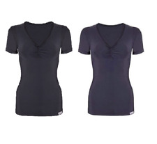 Proskins Slim Anti Cellulite Ruched Short Sleeve Top Black / Navy *SALE*