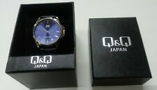 New Mens Q&Q Dress / Casual Watch / Blue Face with Steel Bezel / Black Band