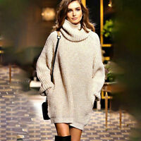 Womens Long Sleeve Knitted Sweater Mini Jumper Dress Baggy Party Tops Pullover