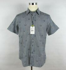 NWT ROBERT GRAHAM Mens Navy Black Skull Heads Cotton SHORT SLEEVE Casual Shirt M
