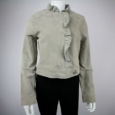 Dollhouse Womens Leather Short Jacket Size M Light Gray Ruffle Details