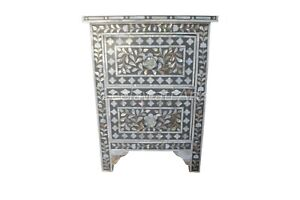 Handmade Mother of Pearl Floral Design Gray Two Drawer Bedside Table Nightstand