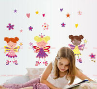 Large Flower Fairies Girl Child Baby Bedroom Wall Stickers REUSABLE Art Decals