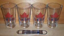 MOLSON CANADIAN 4 BEER PINT GLASSES & BOTTLE OPENER NEW