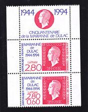 FRANCE N° 2864Aa ** MNH, journée du timbre la paire + vignette, TB