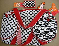 Little MissMatched Duffel Bag Tote Black White Red Polka Dots Luggage Tag Travel